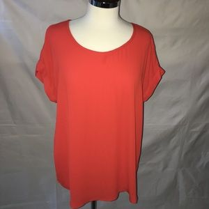 PLEIONE Red shirtsleeve pleated blouse SIZE: LARGE